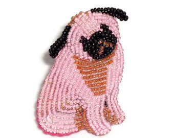 Sale: PINK PUG beaded keepsake dog art pin/ pendant necklace (Ready to Ship) (a)