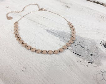 Circle Choker Rose Gold | Disc Choker Delicate Necklace Geometric Jewellery
