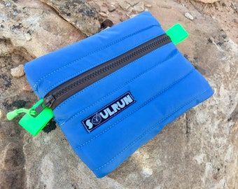 Puffy Phone Pouch - Light Blue with Brown Zipper