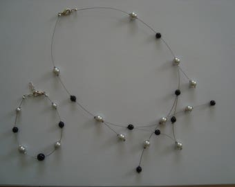 Fancy black and gray jewelry set