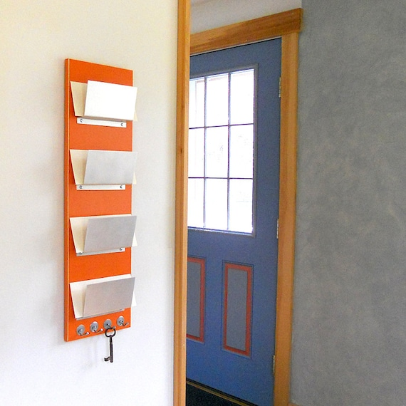 office door mail holder. FAMILY MAIL ORGANIZER: Wall Mount Family Mail Organization, Orange Modern Storage Key Hooks For Office Or Home Entry Decor. Door Holder
