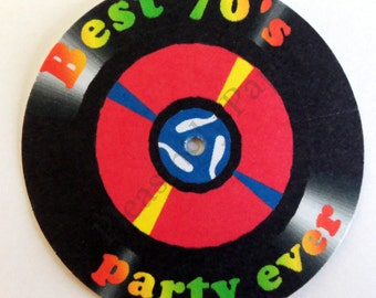 45 record tags, vintage 45 record tags, music tags, record adapter tags, 70's party tags, 80's party tags, vinyl record tags