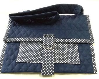 Ipad tote, blue, white, polka dot, notebook, quilted.