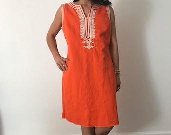 1960s vintage orange linen sheath dress || womens large vintage dress || summer vintage clothing || rope trim || 60s vintage dress