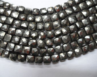 """Pyrite top quality faceted box briolette 6 side cutting 1 full strand 8"""" size 7mm approx"""