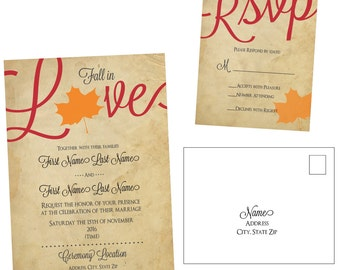 Customizable Fall in Love Wedding Invitation and RSVP Postcard _ Digital File Only