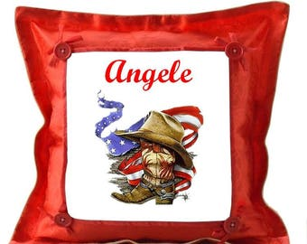 Red pillow Country personalized with name