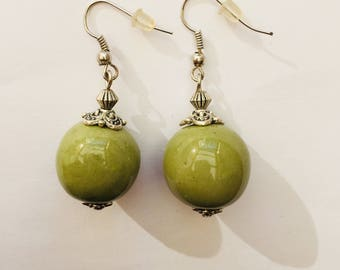 Khaki green ceramic bead earrings