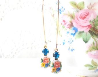 Vintage Limoges Flower Earrings - Vintage Capri Blue Rhinestone Earrings - Long Dangle Earrings - Two Stone Earrings - Garden Wedding