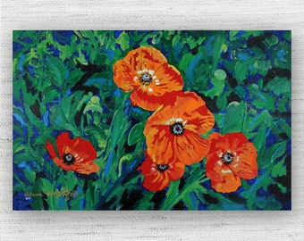 Poppy Painting Print Canvas Art from Floral Fine Art Canvas Painting - Red Poppy Floral Art Print