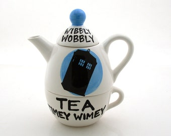 Doctor Who Teapot, Tardis, tea for one, Wibbly wobbly tea timey wimey, Dr. Who fanart