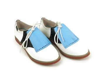 Dark Baby Blue Kilties for Womens Golf Shoes, Lindy Hop Swing Dance, Golf Accessories, Golf Presents, Unique Golf Gifts, Golf Stuff