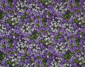 Purple Lilac Floral Fabric By Yard or Half Yard Floral Packed Flowers Fabric Cotton Quilting Fabric w2/31
