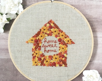 """new home housewarming gift. first home gift. housewarming gift. home sweet home embroidery. home decoration // Ready to Ship 7"""" Hoop"""