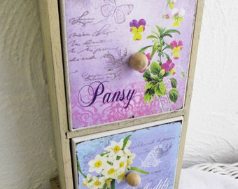 Floral dresser stand wood for seeds or jewelry or keepsake items