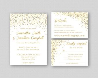 Gold Glitter Wedding Invitation Template, Printable Wedding Invitation Set, Gold Wedding Invitation Printable, Gold Dots, Wedding Invites