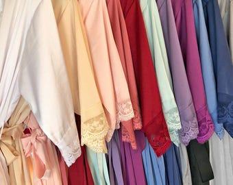 LACE SATIN ROBES - Satin Lace Bridal Robe - Bridesmaid Robes - Bridal Robe - Bride Robe - Bridal Party Robes - Bridesmaid Gifts - Lace Robes