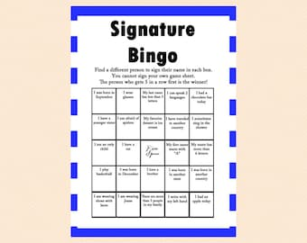 Blue Bingo, Birthday bingo, Unique Bingo, Signature bingo, Birthday Party Game, Birthday Games, Baby shower Games, Bridal Shower Games PT01