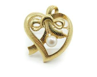 Vintage Heart Brooch, Faux Pearl