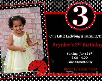 Personalized DIY Ladybug Birthday Party Invitation