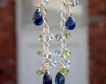 "PERSONALIZED BIRTHSTONE Dangling Drop Earrings ""By Land and By Sea"" - Peridot, Aquamarine, & Kyanite in Sterling Silver - Handmade by Dorana"