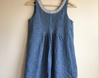 1990s Vintage Denim Embroidered Baby Doll Mini Dress