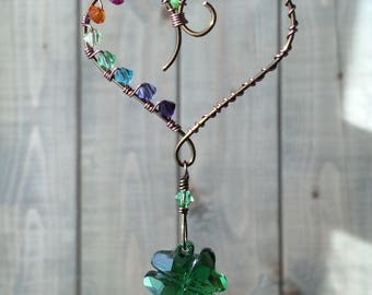 Love and Luck Shamrock Heart Rainbow Crystal Suncatcher Rearview Mirror Ornament Window Decor Wedding Christmas Gift Stocking Stuffer