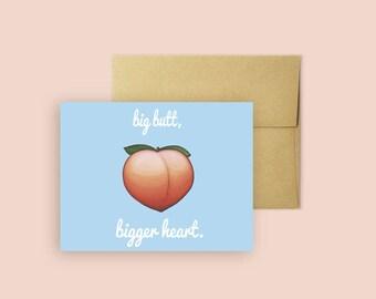 Big Butt Emoji Card (Love Card, Greeting Card, Pop Culture Card, Cards for Her)