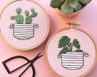 pink cactus or monstera embroidery art