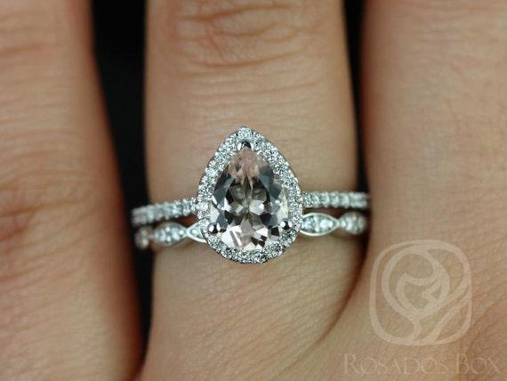 Rosados Box Tabitha 8x6mm and Christie Band 14kt White Gold Pear Morganite and Diamonds Halo Wedding Set