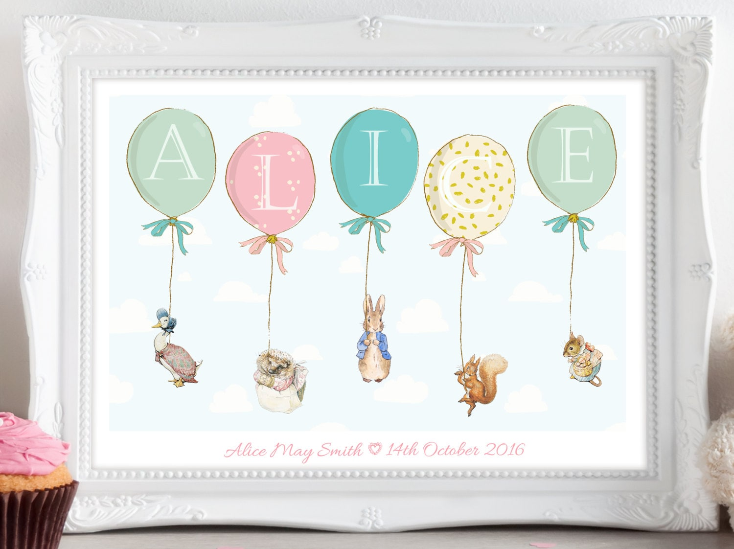 personalised peter rabbit beatrix potter balloon print picture
