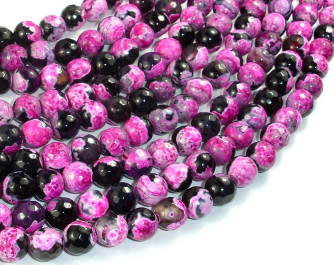 Agate Beads, Pink & Black, 8mm Faceted Round Beads, 15 Inch, Full strand, Approx 48 beads, Hole 1mm (122025297)