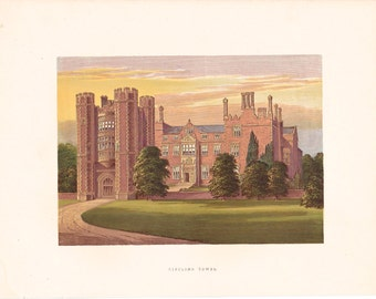 """Antique Woodblock Print - """"Kirtling Tower""""  - 1880 English Country House - Home Decor Print to Frame, Stately Home, Cambridgeshire, England"""