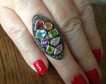 Marcasite Multi-stone Sterling Silver Ring of Peridot, Topaz, Amethyst and Garnet