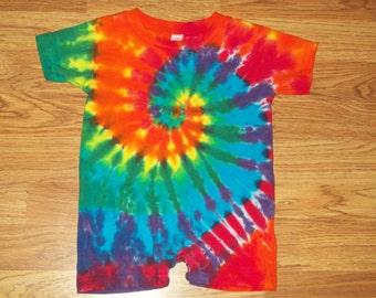 Tie dye Romper, 6m 12m 18m 24m Rainbow Explosion, tie dye baby onesie