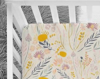Beautiful floral crib sheet, golden flowers, baby girl bedding, floral, nursery bedding, crib sheets, baby bedding