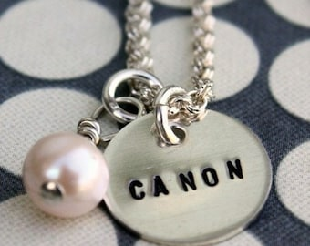 Custom, sterling silver teeny tag necklace with one charm