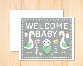 Welcome Baby Card - Baby Shower Card - Scandinavian Welcome Baby Card - Illustrated Greeting Card