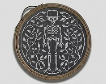 Mr. Bones in the Garden: A Halloween Hoop Embroidery Chart - PDF Pattern Booklet, direct download