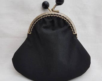 Black Candy Kiss Clasp Purse/Kiss Clasp Coin Purse/Change Purse