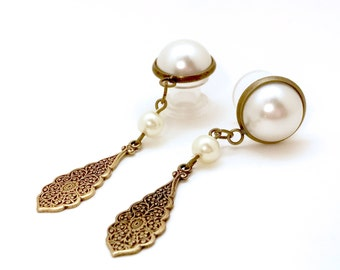 """6g to 5/8"""" Wedding Dangle Plugs Bronze Vintage Style Dangle Gauges with Ivory Pearls Gauged Earrings 2g 4g 0g 00g 000g 7/16"""" 1/2"""" 9/16"""""""