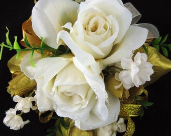 Wedding Prom Metallic Gold Cream Rose Flowers Wrist Corsage or 2pc with Boutonniere