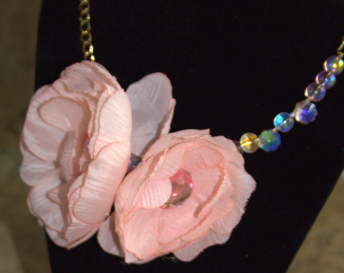 Silk Flower  and Czech Glass Necklace