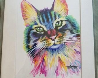 Watercolor cat print