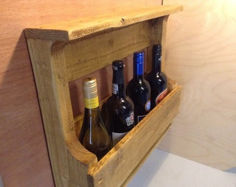 Rustic wine bottle rack (4 bottles)