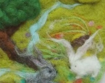 Waldorf Wool Painting Tapestry, Waldorf playscape, wall hanging decor, nature scenery, felted landscape, felted picture, children room, fun