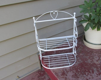 Wire Shelf Unit 2 Tiered White Metal Wall Hanging