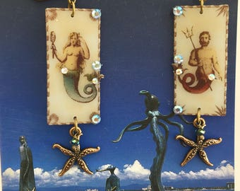 MERMAID and MERMAN  -  Ocean Fairytale EARRINGS - Starfish Dangles