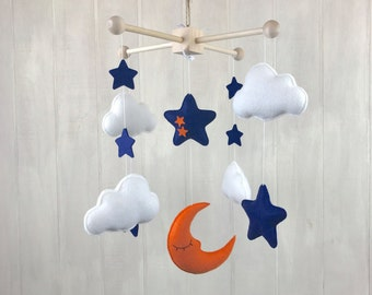 Baby mobile - moon mobile - sleeping mobile - cloud mobile - star mobile - orange and navy - stars - moon