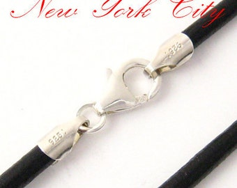 """4mm Black Leather Cord Necklace Silver Clasp 14"""" inches - 36"""" inches Silver Clasp, You choose length. LCR0400BLKS"""